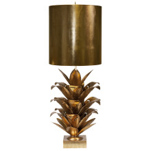 Gold Leaf Brutalist Palm Table Lamp With Gold Metal Shade | Gracious Style