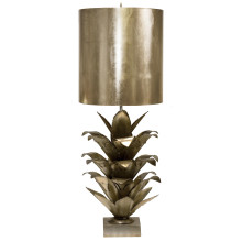 Silver Leaf Brutalist Palm Table Lamp With Silver Metal Shade | Gracious Style