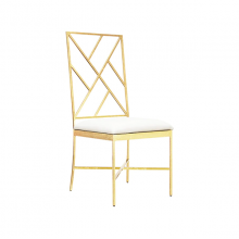 Fretwork Back Gold Leaf Chair With White Vinyl Cushion | Gracious Style