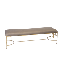"60""L Hammered Gold Leaf Bench With Beige Linen 