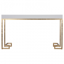 White Lacquer Console With Gold Leaf Greek Key Base | Gracious Style