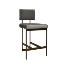 Modern Counter Stool With Grey Velvet Cushion In Bronze | Gracious Style