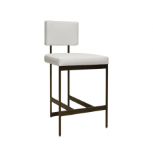 Modern Counter Stool With White Vinyl Cushion In Bronze | Gracious Style