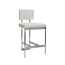Modern Counter Stool With White Vinyl Cushion In Nickel | Gracious Style