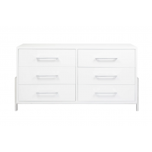 White Lacquer 6 Drawer Chest With Nickel Base Detail and Hardware | Gracious Style