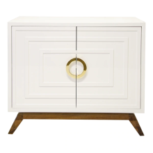 White Lacquer 2 Door Cabinet With Brass Hardware | Gracious Style