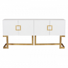 White Lacquer Media Console With Gold Leaf Base and Square Handle | Gracious Style