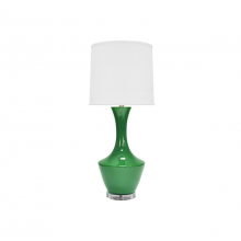 Ceramic Table Lamp With White Linen Shade In Kelly Green | Gracious Style
