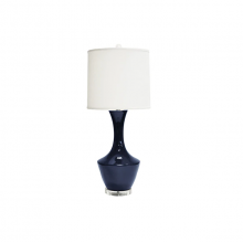 Ceramic Table Lamp With White Linen Shade In Navy | Gracious Style