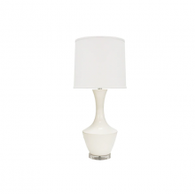 Ceramic Table Lamp With White Linen Shade In White | Gracious Style