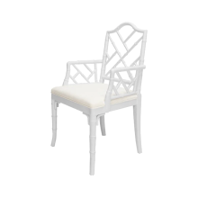 Bamboo Dining Armchair In White Lacquer | Gracious Style