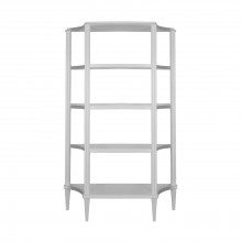 Four Tier Etagere Shelf In Matte White Lacquer | Gracious Style