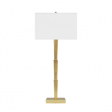 Three Tier Lamp With Square White Linen Shade In Gold Leaf | Gracious Style