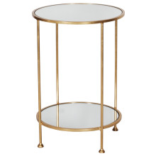 2 Tier Gold Leaf Side Table With Mirror | Gracious Style
