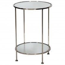 2 Tier Nickel Side Table With Mirror | Gracious Style