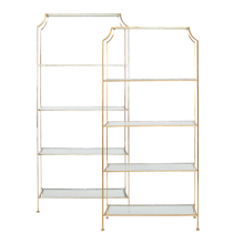 Etagere Shelf Gold Leaf With Glass | Gracious Style