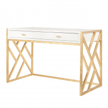 White Lacquer Desk With Gold Leaf Lattice Base | Gracious Style