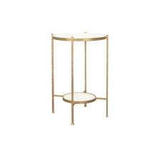 Round 2 Tier Hammered Iron Table With Marble Top In Gold Leaf | Gracious Style
