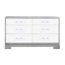 6 Drawer Chest With Acrylic and Nickel Hardware In Grey Cerused Oak | Gracious Style