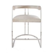 Barrel Back Nickel Base Counter Stool In Ivory Velvet | Gracious Style