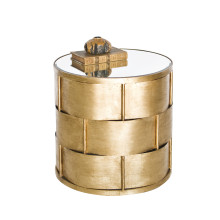 Basketweave Side Table, Gold Leaf | Gracious Style