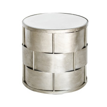 Basketweave Side Table, Silver Leaf | Gracious Style