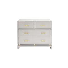 Four Drawer Chest With Gold Leaf Hardware In Matte Grey Lacquer | Gracious Style