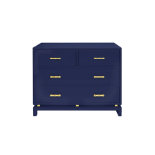 Four Drawer Chest With Gold Leaf Hardware In Navy Lacquer | Gracious Style