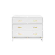 Four Drawer Chest With Gold Leaf Hardware In White Lacquer | Gracious Style