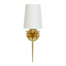 Gold Leaf One Arm Sconce With 3 Layer Leaf Motif and White Linen Shade | Gracious Style