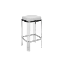 Acrylic Counter Stool With Nickel Accents and White Ostrich Cushion | Gracious Style