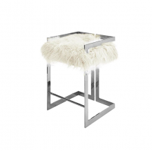 Counter Height Nickel Stool With White Mongolian Fur Cushion | Gracious Style