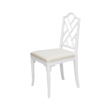 Bamboo Dining Chair In White Lacquer | Gracious Style