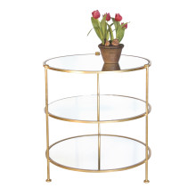 3-Tier Gold Leaf Table With Mirror Shelves | Gracious Style
