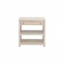Side Table With Acrylic and Nickel Hardware In Cerused Oak | Gracious Style
