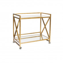 "Gold Leaf ""X"" Bar Cart With Mirrored Shelves 