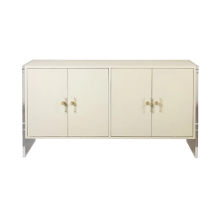 Four Door Cabinet With Acrylic Sides In Cream Faux Shagreen | Gracious Style