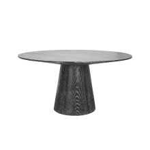 Round Black Cerused Oak Dining Table Base And Top | Gracious Style