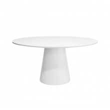 Round White Lacquer Dining Table Base And Top | Gracious Style