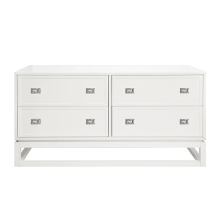 4 Drawer Matte White Lacquer Dresser With Nickel Campaign Hardware | Gracious Style