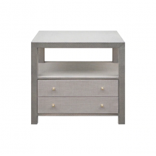 2 Drawer Side Table In Grey Grasscloth With Brass Hardware | Gracious Style