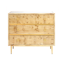 Burlwood 3 Drawer Chest With Gold Leaf Hardware and Base | Gracious Style