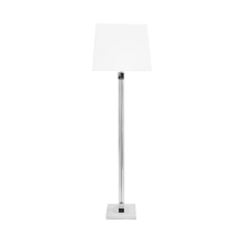 Glass Pole Floor Lamp With Marble Base And Nickel Detail | Gracious Style