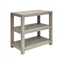Two Tier Rectangular Grasscloth Side Table In Grey | Gracious Style