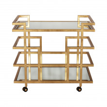 Gold Leaf Linear Bar Cart With Mirror Shelves | Gracious Style