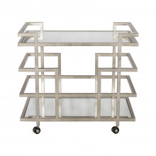 Silver Leaf Linear Bar Cart With Mirror Shelves | Gracious Style