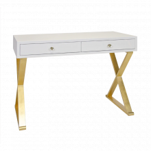White Lacquer Desk With Gold Leafed Base | Gracious Style