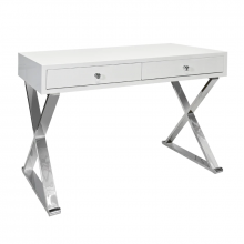 Two Drawer White Lacquer Desk With Stainless X Legs | Gracious Style