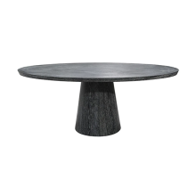 Oval Black Cerused Oak Dining Table | Gracious Style