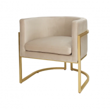 Gold Leaf Frame Arm Chair In Cream Velvet | Gracious Style